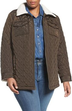 Lucky Brand Faux Shearling Trim Zip Front Jacket (Plus Size) available at #Nordstrom