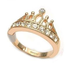 Anel Coroa Com Cristais (Banhado)