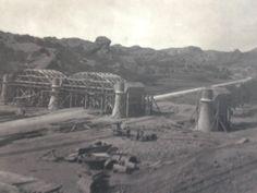 Acueducto Perera. Canal de Aragón y Cataluña. San Esteban de Litera (Huesca). Año 1903. Colocación de cimbras.