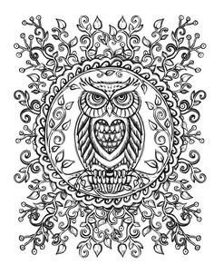 Coloring For Adults Adult Pages Owl Animal Owls Relax Colouring Keep Calm Tawny