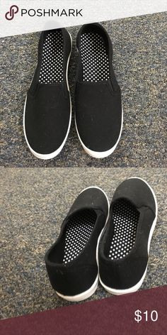 Cute black slip on shoes Never worn! Black slip on shoes Shoes Sneakers