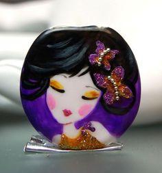 COLGANTE : Cristal de Murano, decorado con esmaltes al fuego. Medida: 33x32 mm | trizasdesigns