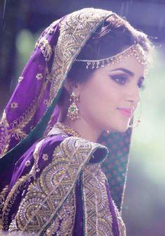 bride in purple, gold, jewelry Pakistani Bridal Couture, Pakistani Wedding Dresses, Bridal Wedding Dresses, Wedding Attire, Indian Wedding Bride, Indian Bridal, Saris, Pakistan Bride, Bridal Makeover