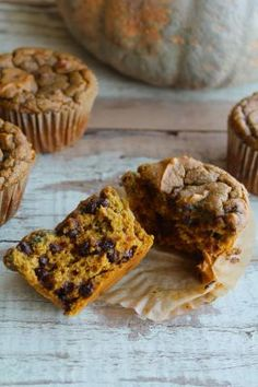 pumpkin chocolate chip muffins (or bread) - nut-free, dairy-free, grainfree. Just the right amount of pumpkin and spice