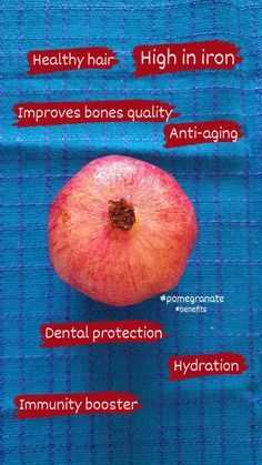 Pomegranate improves hydration and has great health benefits Pomegranate Benefits, Healthy Hair, Health Benefits, Anti Aging, Dental, Bring It On, Photo And Video, Fruit, Amazing