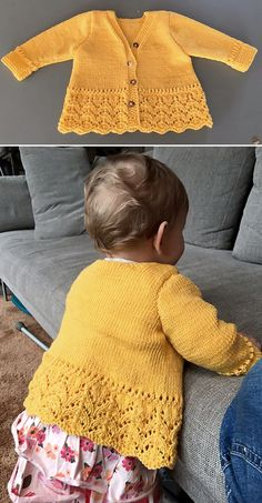 Precious Emilia – Free Pattern – Knitting patterns, knitting designs, knitting for beginners. Baby Sweater Patterns, Knit Baby Sweaters, Knitted Baby Clothes, Baby Patterns, Knitting Patterns Free, Knit Patterns, Free Knitting, Free Pattern, Baby Knits