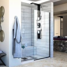 DreamLine Linea to W Frameless Fixed Satin Black Shower Door at Lowe's. The DreamLine Linea collection of walk-in shower panels is a welcome addition to any contemporary bathroom. The Linea is elegant and functional, giving Frameless Shower Doors, Glass Shower Doors, Walk In Shower Designs, Black Shower, Thing 1, Shower Panels, Shower Screens, Shower Enclosure, Shower Stalls