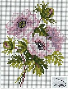 cross stitch flowers chart... no color chart available, just use pattern chart as your color guide.. or choose your own colors...
