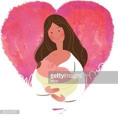 Stock Illustration : Mother breastfeeding her baby