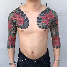 48 ideas tattoo for guys shoulder half sleeves wedding dresses Japanese Flower Tattoo, Japanese Dragon Tattoos, Japanese Tattoo Designs, Japanese Sleeve Tattoos, Girls With Sleeve Tattoos, Tattoos For Guys, Arm Tattoo, Body Art Tattoos, Samoan Tattoo