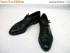 30% Off Sale 80s Woven Leather Oxfords size 6 Nicole Wingtip Broques