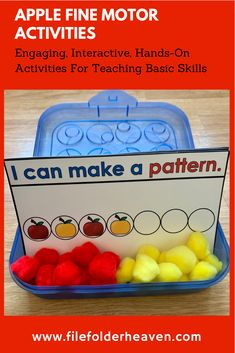 So many Apple Fine Motor Activities! So little prep! Fill your centers, morning tubs, work stations and engage your small groups with this fun, hands-on activities. Use simple materials that you already have on hand such as play dough, pom-poms, dry erase markers and wiki stix! Apple Activities, Motor Activities, Hands On Activities, File Folder Games, Work Stations, Dry Erase Markers, Play Dough, Pom Poms, Fine Motor