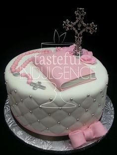 First Communion cake with fondant bible, sugar rosary, bow and cross. Seward, Nebraska. Cake to Die For!