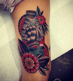 Ship tattoo, American traditional.  Bold colors