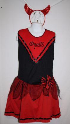 Wonderland Girl's Large Size 10 12 DEVIL DOLL CHEERLEADER Halloween Costume Red…