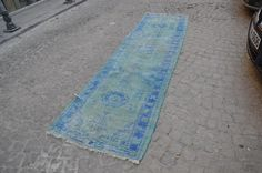 hand made turkish handwoven overdyed runner  colour is blue size 10.8x2.7 ft…