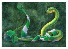 """Slytherin Snake"" by Sushi Studios, print - discontinued, no longer available in her shop! Slytherin Snake, Slytherin Pride, Hogwarts, Ankle Tattoo Small, Ankle Tattoos, Cat Tattoos, Tiny Tattoo, Small Tattoos, Snake Painting"