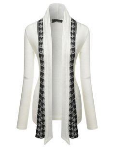 Nearkin Stylish Hound Tooth Check Open Front Shawl Collar Cardigans at Amazon Women's Clothing store: