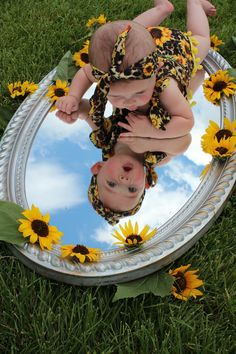 Sunflowers, blue skies and mirror six month baby photo shoot. Monthly Baby Photos, Newborn Baby Photos, Baby Girl Photos, Baby Poses, Cute Baby Pictures, Newborn Pictures, Baby Boy Photo Shoot, Baby Photo Shoots, Baby Photoshoot Ideas