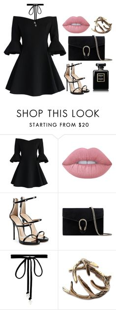 """""""Untitled #233"""" by pehpalad on Polyvore featuring Chicwish, Lime Crime, Giuseppe Zanotti, Gucci, Joomi Lim and Chanel"""