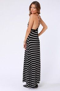 Wilshire Boulevard Black and White Striped Maxi Dress