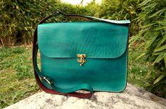 """Green leather laptop bag  15"""", Green leather messenger, Teal messenger bag, Antique look"""