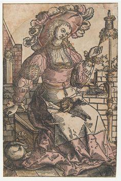 Spinnende vrouw, Lucas van Leyden, 1500