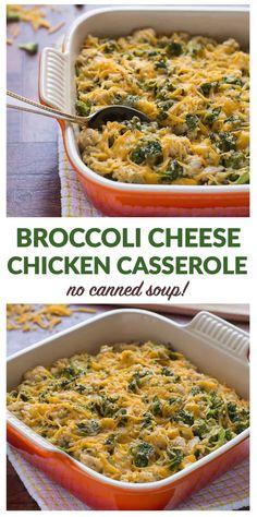 Healthy Cheesy Chicken Broccoli Rice Casserole. A lightened up version of the classic casserole recipe, with NO condensed soup. #casserole #chickenrecipes #comfortfood #dinnerrecipe