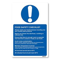 Shop for Food Safety Checklist Adhesive Vinyl Sticker For Kitchen Health & Safety Storage Signs (white Vinyl). Starting from Compare live & historic kitchen prices. Food Standards Agency, Safety Checklist, Food Safety Tips, Food Handling, Gym Food, Personal Hygiene, Adhesive Vinyl, Health And Safety, Raw Food Recipes