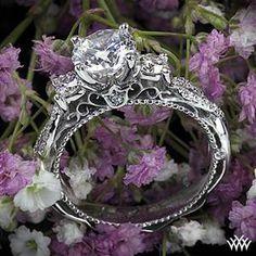 18k white gold Verragio beaded twist 3 stone engagement ring