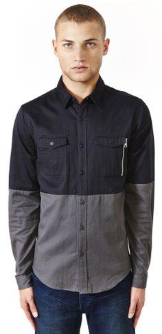 Mens - Shirts - Escape Dual Colored Zip Pocket Shirt $97.00