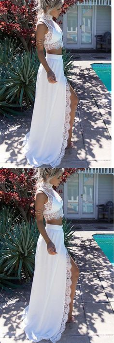 Two Piece Prom Dresses,High Neck Prom Dresses,White Lace Prom Dresses,2 Piece Prom Dress,2 Pieces Evening Dress,Front Slit Prom Dress,New Arrival Prom Dress,White Prom Dress,Party Dress