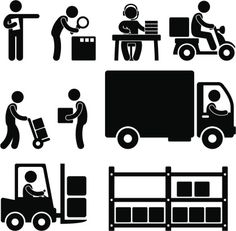 Logistic Warehouse Delivery Pictogram Vector Art 155284343 | Thinkstock