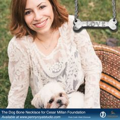 Our Dog Bone Necklace to benefit Cesar Millan Foundation.  Engraveable with up to 10 characters. #cesarmillanfoundation #dogbonenecklace  #cesarmillan #giftsfordoglovers #doglover #silverjewelry #personalizedjewelry