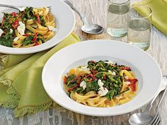 Fettuccine with Smoky Turnip Greens, Lemon, and Goat Cheese Feta Cheese Recipes, Pasta Recipes, Dinner Recipes, Creamy Pasta, Creamy Sauce, Turnip Greens, Baked Ziti, Southern Recipes, Southern Food