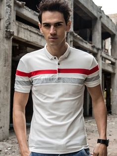 White Polo Shirt Turndown Collar Short Sleeve Striped Slim Fit Cotton Top For Men & Men\'s Clothing > Polo Shirts Mens Polo T Shirts, Polo Tees, Golf T Shirts, Camisa Polo, Polo Shirt Colors, Polo Shirt White, Men Looks, Printed Shirts, Trendy Outfits