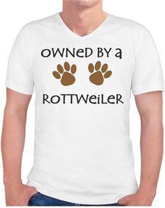 Köpekli - Owned By a Rottweiler - Kendin Tasarla - Erkek V Yaka Tişört