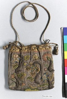 Purse | British | first quarter 17th century | silk & metal thread on canvas | Metropolitan Museum of Art | Accession Number: 64.101.1264