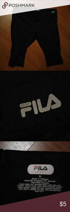 Plus Fila 3X Capri Exercise Pant with Reflection Firm unless bundled.   Fila 3X Capri Exercise Pant with Reflection Crescent on each leg.   Wide comfortable waist band.   PRE-loved, washed and dried.  Polyester and spandex so no fading.   Silk screen cracking.  A lot of millage left in them.  Please bundle if you can.   :)  used washed but in good condition. Fila Pants Track Pants & Joggers