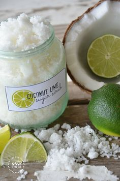 Coconut lime sugar scrub.
