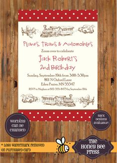 Planes Trains and Automobiles Birthday Invitation - Vintage Car, Plane Train - Zoom - 1st, 2nd, 3rd, 4th, 5th Birthday invite - Item 0126