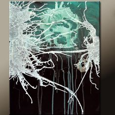 Energy Storm Abstract Art Painting on Canvas 18x24 Original by wostudios, $69.00