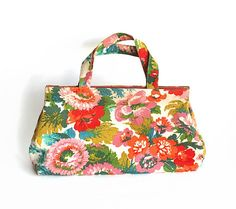 1960s Maragret Smith Cloth Floral Purse Tote bag by rumplebin, $22.00