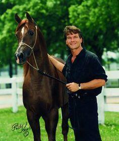 Patrick Swayze with his Egyptian stallion, Tammen