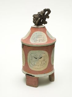 Lidded Tripod Cylinder Vessel with Head of Cacao Deity | LACMA Collections