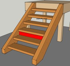 front view of closing riser on stairway with open treads
