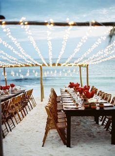 Wedding decoration ideas with string lights. Beach wedding inspiration and ideas.