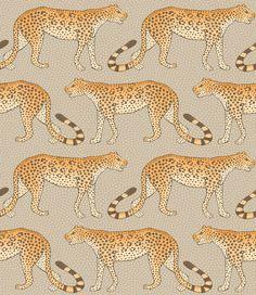 Leopard Walk Stone / Orange wallpaper by Cole & Son