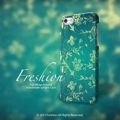 iPhone 6 case aqua floral pattern iPhone 6 plus by Freshionshop