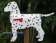 Offering a unique novelty Dalmatian Mailbox. Fun and Functional Dalmatian Decor Diy Mailbox, Mailbox Ideas, Barrel Dog House, Diy Bandsaw, Hgtv Property Brothers, Wood Projects, Projects To Try, Unique Mailboxes, You Have Mail